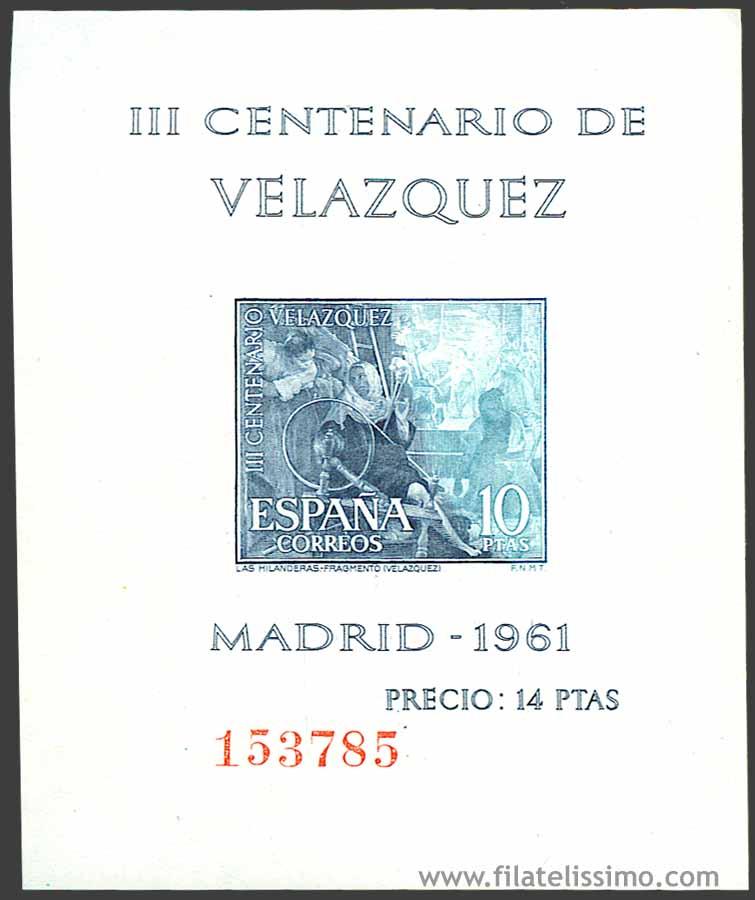 1961 Espana Hb Velazquez 10ptas