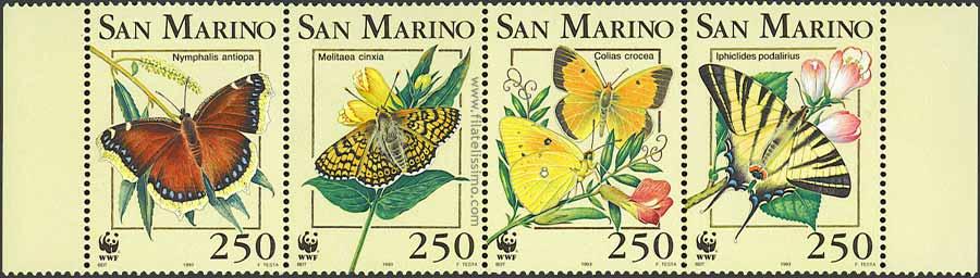 1993 San Marino Mariposas Bloque