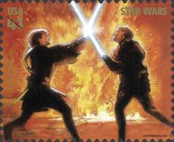Anakin Skywalker peleando con Obi-Wan Kenobi