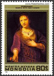 Saskia con una flor roja. Rembrandt
