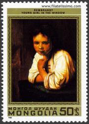 Chica joven en la ventana. Rembrandt