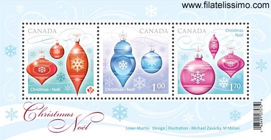 Adornos de Navidad de vidrio en sellos de Canadá