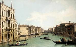 Cuadros de Canaletto, Venecia: El Gran Canal vista noreste desde el Palazzo Balbi hasta el puente Rialto
