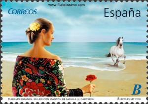 "Turismo Español. ""Mujer con mantón de manila"" J. Carrero (Enrique Jiménez Carrero)"