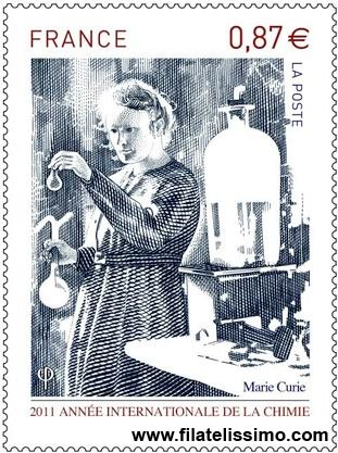 Sello de Francia de Marie Curie