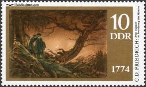 Caspar David Friedrich, Dos hombres contemplando la luna.