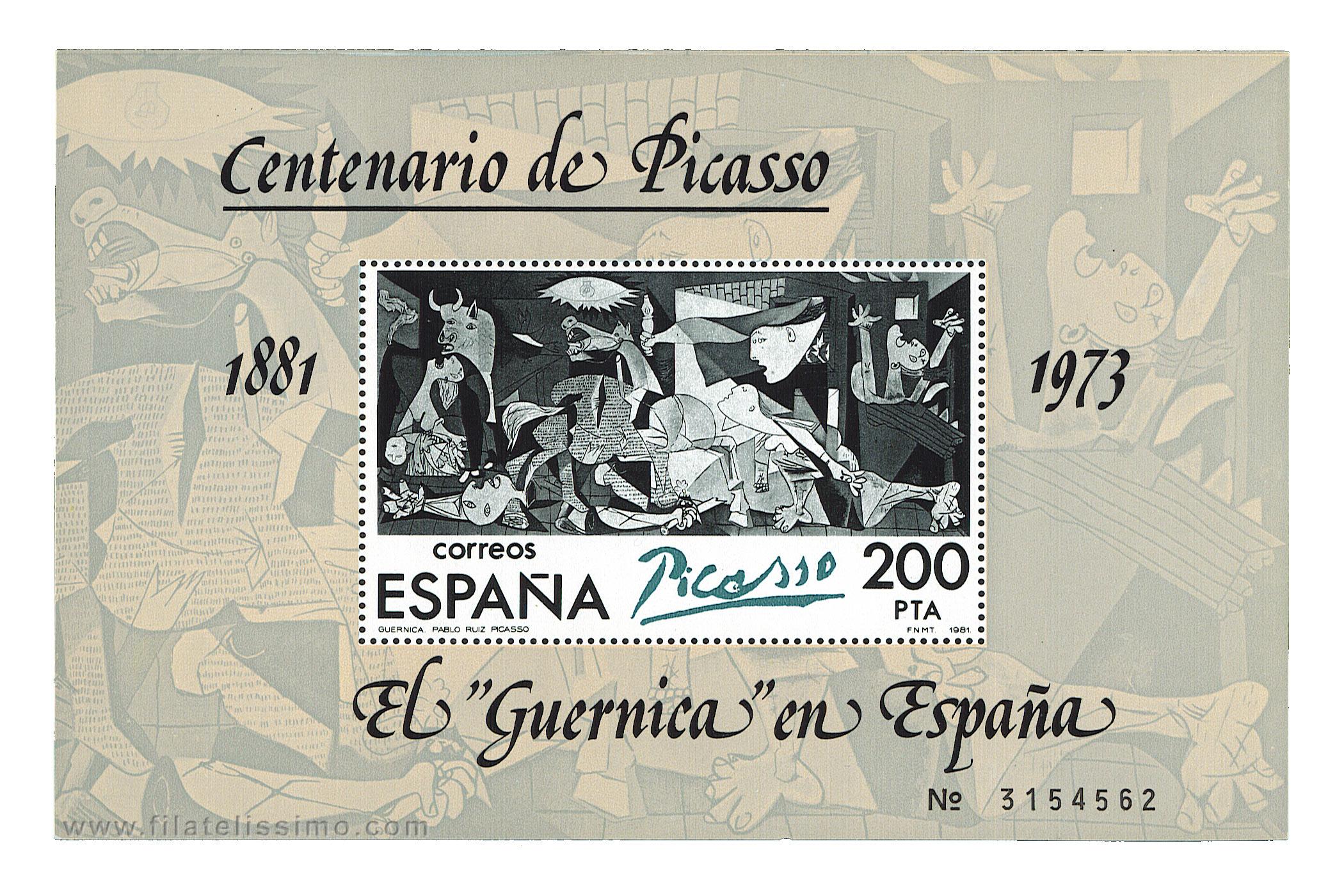 El Guernica de Pablo Ruiz Picasso (Hojita bloque 1981)